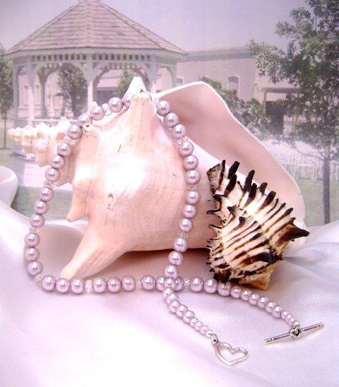 Wisteria Mist/Aqua Pearl and Crystal Single-Strand Necklace