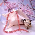 Coral Pearl and Crystal Single-Strand Necklace