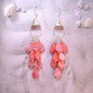 Captivating Salmon Mother of Pearl Teardrop Waterfall Earrings