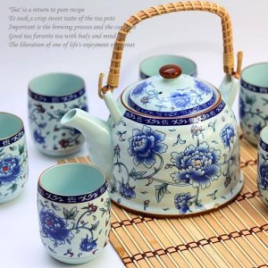 3 Set of Chinese Celandon Peony Tea Service Set
