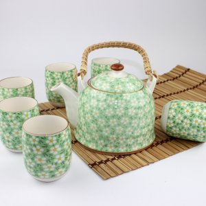 3 Set of Chinese Tea Service Set Green Floral