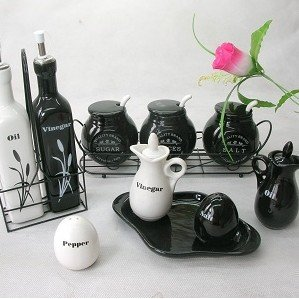 Oil Vinegar Salt Spice Jar Pot Set 9 PCS Classical B/W