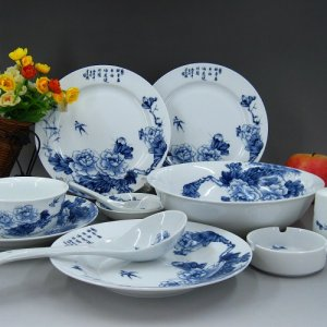 Fine Bone China Dinnerware set 28PCS Blue and White Porcelain