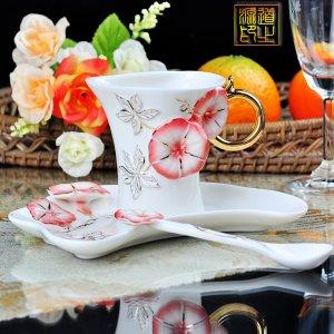 3 Set of Imperial Porcelain Enamel Porcelain Golden Morning Glory