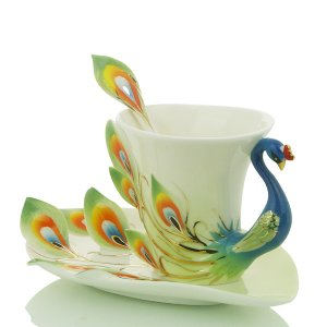 3 Set of Imperial Porcelain Peacock Coffee Cup Set