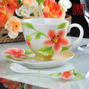 3 Set of Imperial Enamel Porcelain Apple Flower Coffee Cup Set