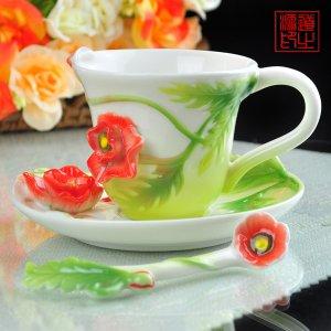 3 Set of Imperial Enamel Porcelain Poppy Flower Coffee Cup Saucer & Spoon