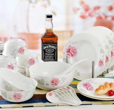 Fine Bone China Dinnerware Set 28PCS Rose and Love Wedding Gift