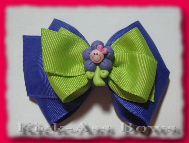 Customizable 3.5 inch Purple Daisy Double Classic Bow ... YOU pick ribbon colors