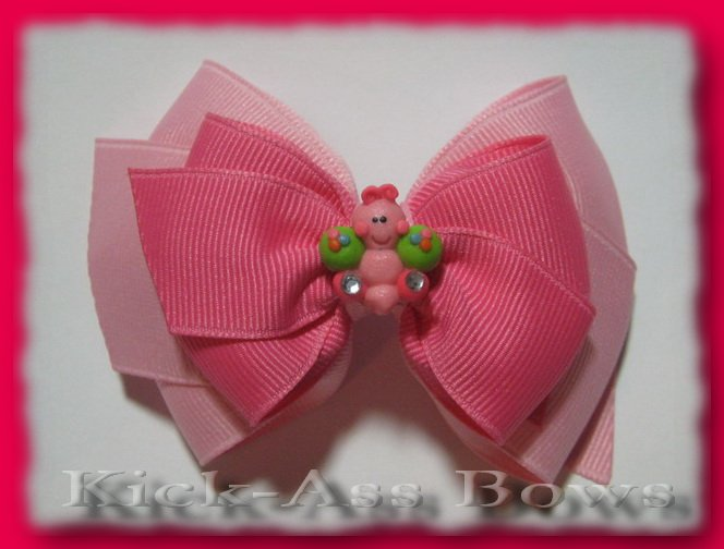 Customizable 3.5 inch Blingy Butterfly Double Classic Hair Bow ... YOU pick ribbon colors