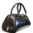 Genuine Snake Leather Black Handbag