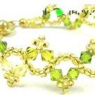 Green Floral Swarovski Crystal Bracelet
