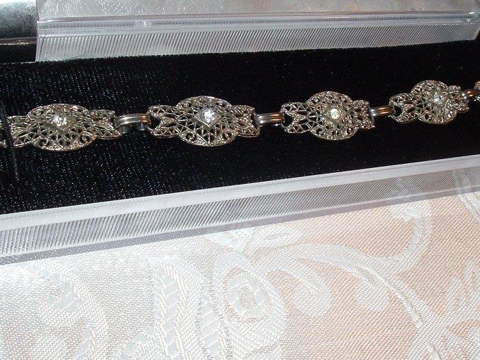 #16 - Vintage Art Deco Rhinestone 7in. Bracelet