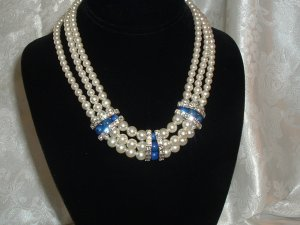 Triple Faux Pearl Necklace with Cobalt &amp; Rhinestone Enhancements