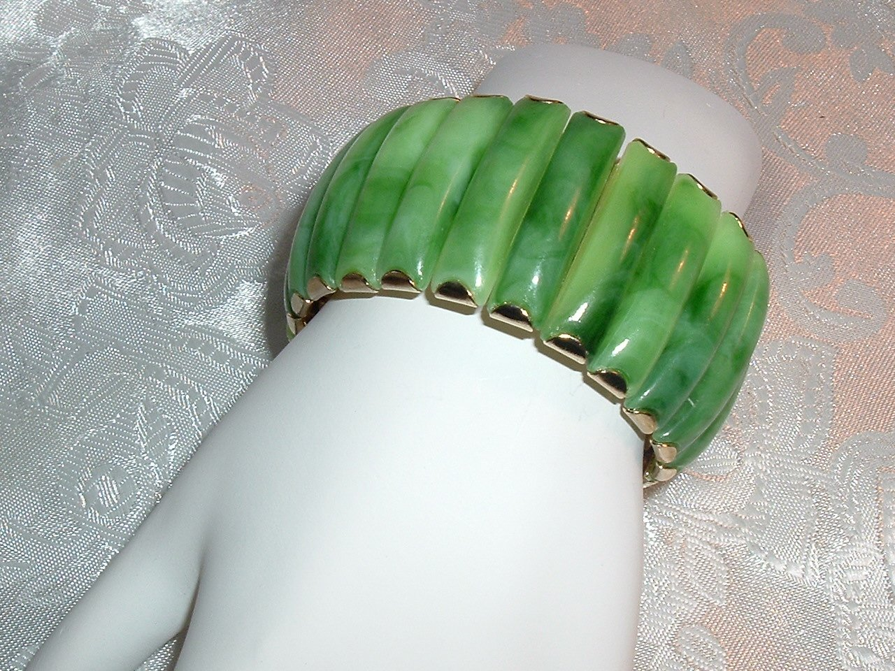Thermoset Green Marbled Expansion Bracelet