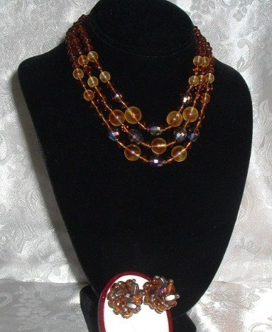 Vintage West Germany Topaz Tones Glass  Triple Necklace & Earrings