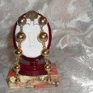 Vintage Gold Tone Beaded Pierced Earrings