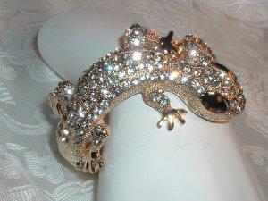 #14 - Gecko Lizard Crystal Rhinestone Clamper Bracelet