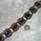 Vtg Brilliant Ruby Emerald Sapphire & Amethyst Jeweltone Glass Cabochon Bracelet