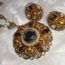 Vintage West Germany Lavish Amber Rhinestone Filigree Necklace & Earring Set