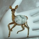 Vintage Wildlife Figural Deer Cabochon Rhinestone Gold Tone 2&1/2in. Brooch