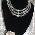 Vintage Aurora Borealis Crystal Bead Necklace & Earring