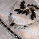 Vintage Jewelry Black Navette & Radiant Clear Rhinestone Set
