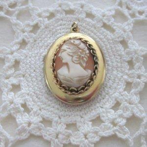 #14 - CAMEO Pendant LOCKET 12kt Gold Filled GF Carved Shell Vintage