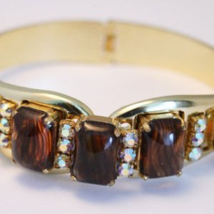 #26 - Vintage AB rhinestone and amber glass clamper bracelet