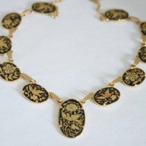 #60 - Vintage Damascene necklace. Birds. Gold and black