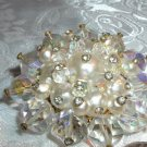 Massive Aurora Borealis Crystal & Faux Pearl Vintage Brooch - Its Huge