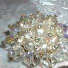 Massive Aurora Borealis Crystal & Faux Pearl Vintage Brooch - Its Huge