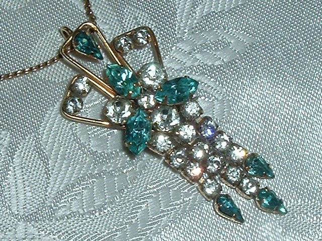 Lovely Old 1/20 12k Gold Filled Vintage Crystal Rhinestone Pendant - Pin w/ Fringe