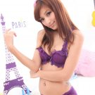 Korea Lace Scallop Wavy Bow Bra Panties Set 34A Violet
