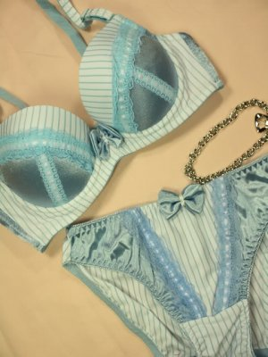Lolita Maid Collection Blue Stripes Bow Bra Set 32B 70