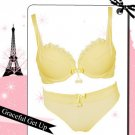 Japan Cute Ball Yellow Ribbon Lace Silky Bra Set 32A 70
