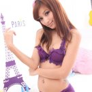 Japan Purple Lace Scallop Silky Bra Panty Set 34A 75A