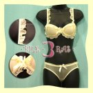 Japan Yellow Lace Scallop Silky Bra Panty Set 36A 80A