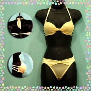 Perfect Back Big Ribbon Silky Bikini Bra Set 32B Yellow