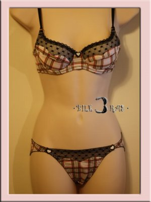Romance Princess Heart Plaid Lace Bra Set 34A White