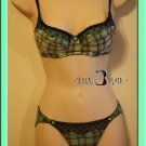 Romance Princess Heart Plaid Lace Bra Set 34A - Green