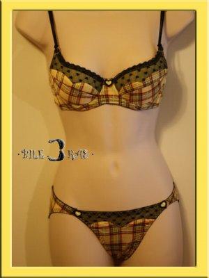 Romance Princess Heart Plaid Lace Bra Set 34A Q Yellow