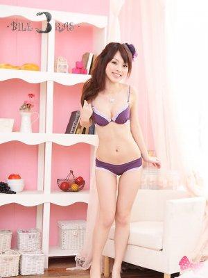 Purple Lace T-Shirt Bra Set Seamless Convertible 34B 75