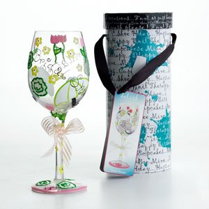 Hand Painted Bridal Shower Toasting Glass
