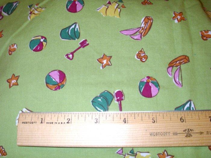 1.125 yard - Green Beach Print fabric - Piece #1