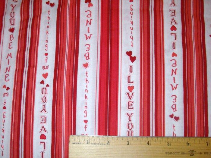 1 yard - I Love You Stripe - Pink, Red, Salmon fabric
