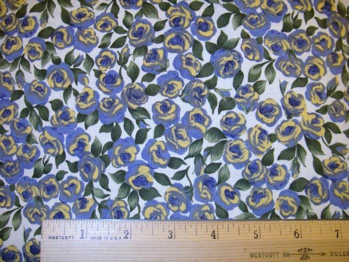 1 yard -  Blue/Yellow Paintbrush Stroke Flowers - Small Flowers fabric