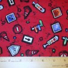 1 yard -  Street Signs on Bright Red fabric