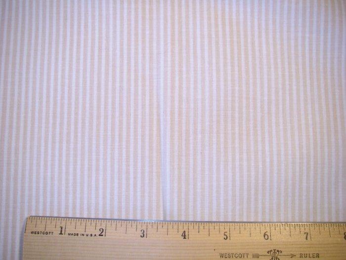 1.75 yard -  Tan and White Stripes fabric