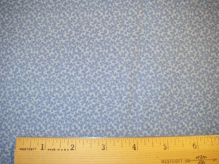 1 yard -  Tiny Blue Flowers on Blue Background fabric